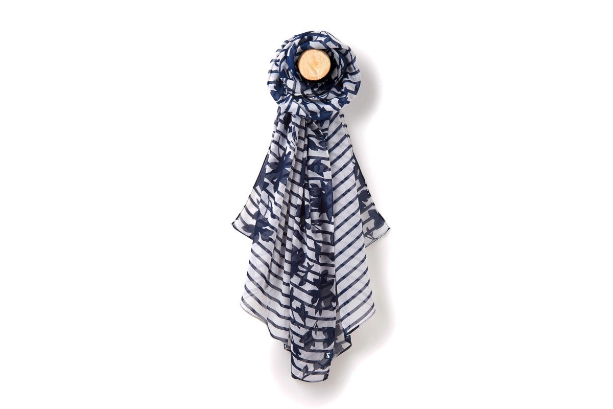 Joules Wensley Scarf Navy Border Floral Stripe Women's Scarf