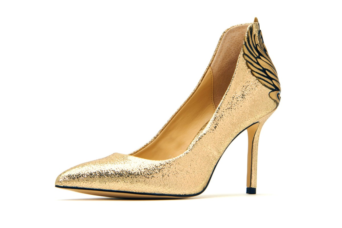 Katy Perry The Starling Gold Crinkle Metallic High Heel Wings Court Shoes