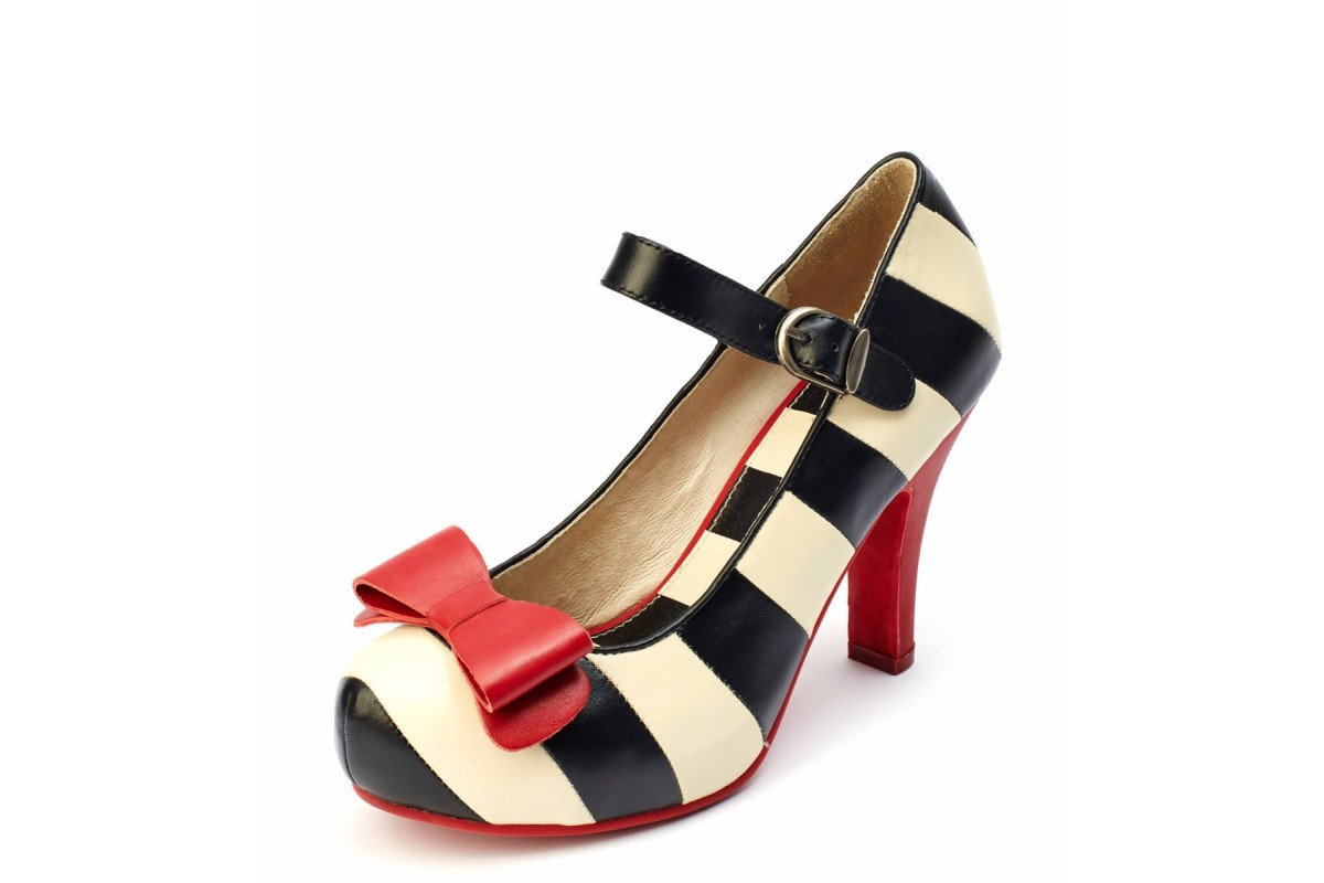 Lola Ramona Angie Black Cream Striped High Heel Mary Jane Shoes ...