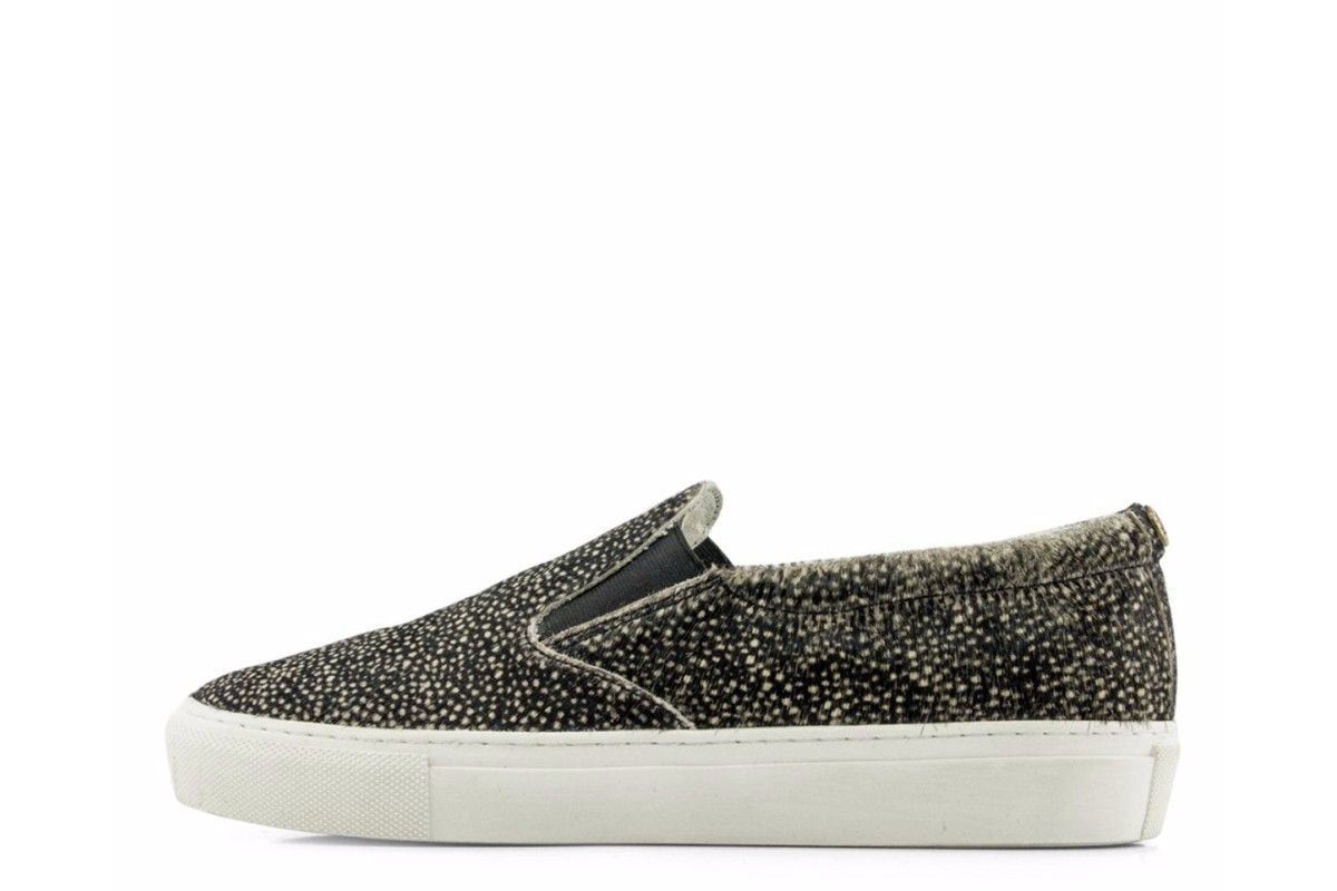 Maruti Berry Hair On Leather Frog White Black Slip On Trainers Shoes