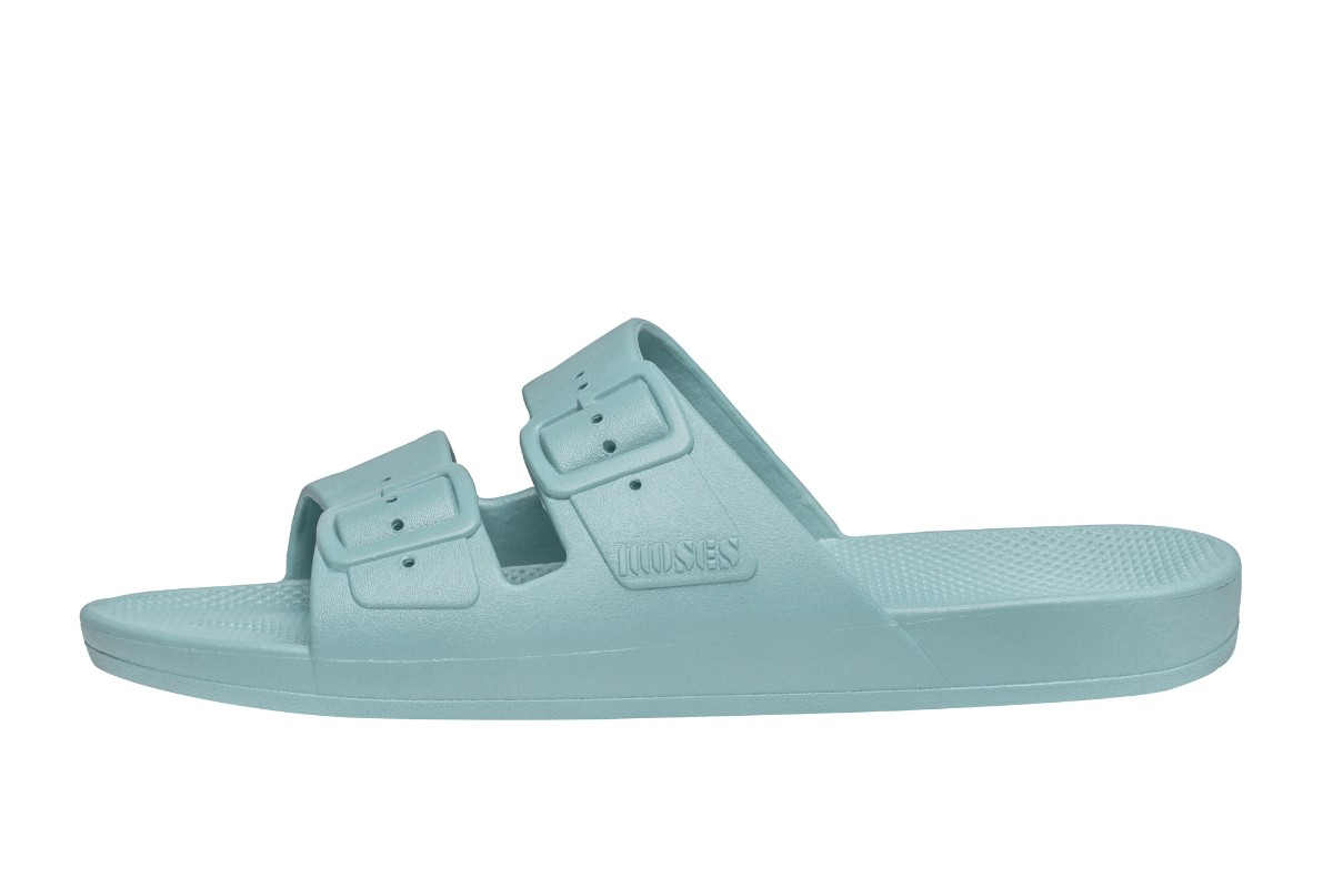 Moses Freedom Virgin Light Blue Flat Slider Sandals
