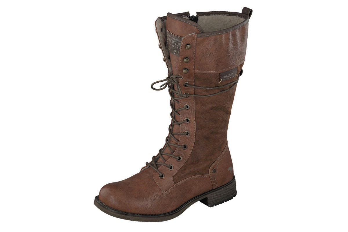 Mustang 1139 633 Chestnut Brown Women's Lace Up Military Calf Boots