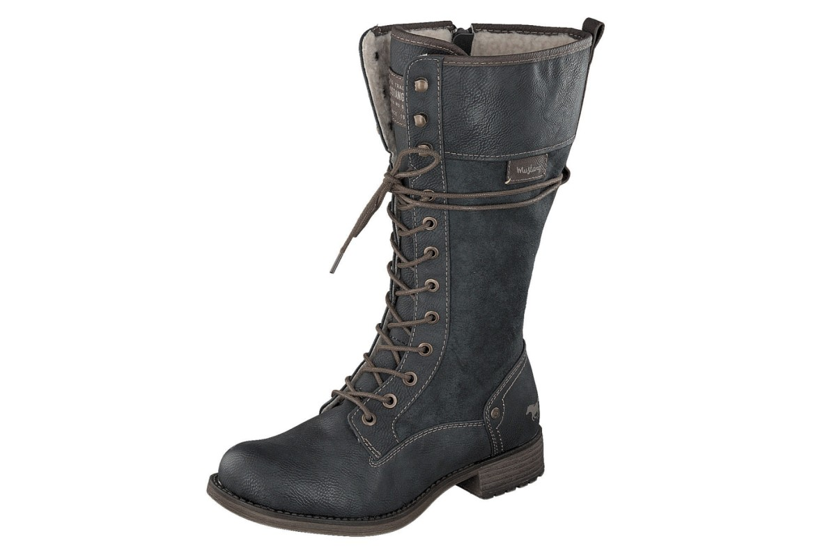 Mustang 1139 633 Dark Grey Women's Lace Up Military Calf Boots