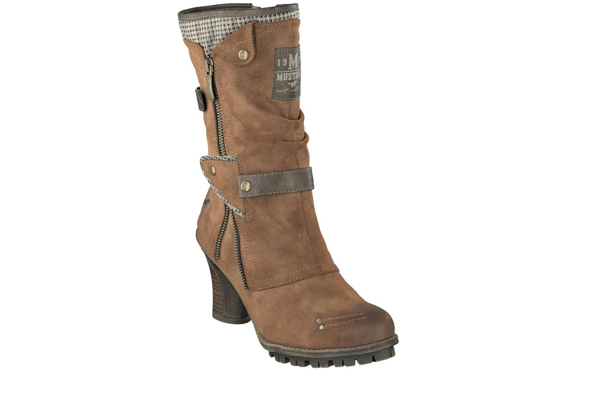Mustang 1141-606 Chestnut Brown Faux Suede High Heel Mid Calf Boots