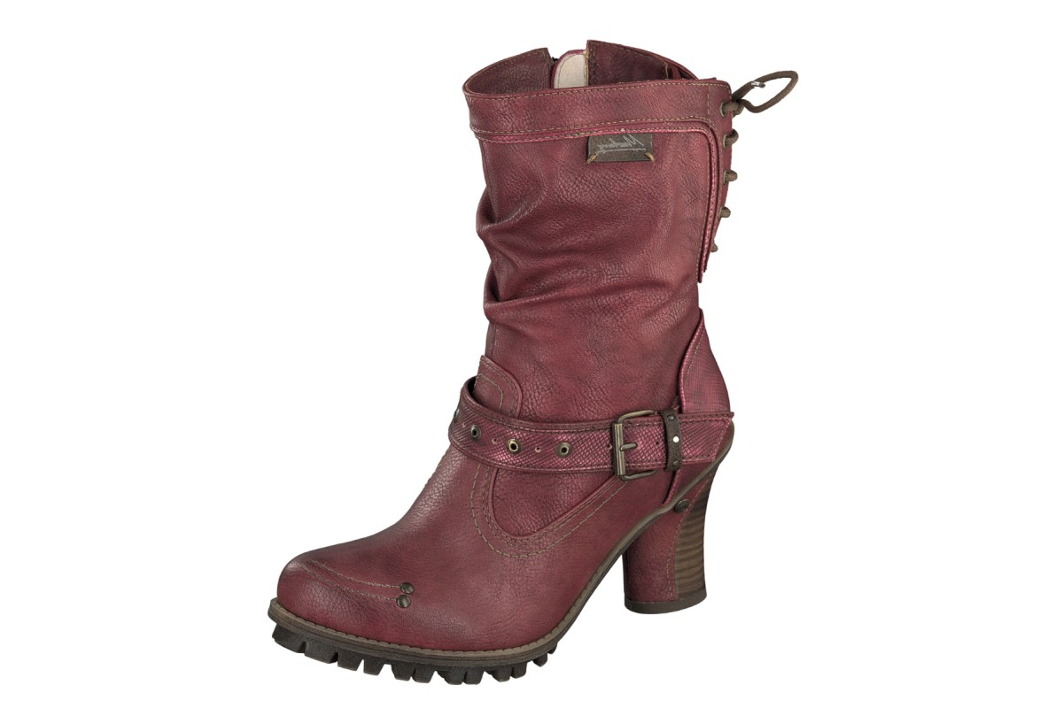 Mustang 1141-613 Red High Heel Fashion Ankle Boots