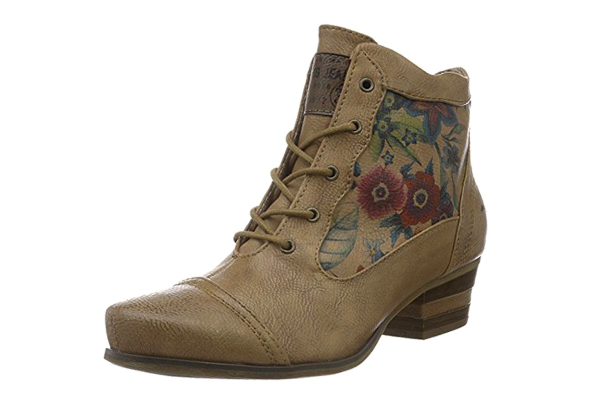 Mustang 1187-509 Natural Light Brown Floral Print Lace Up Ankle Boots