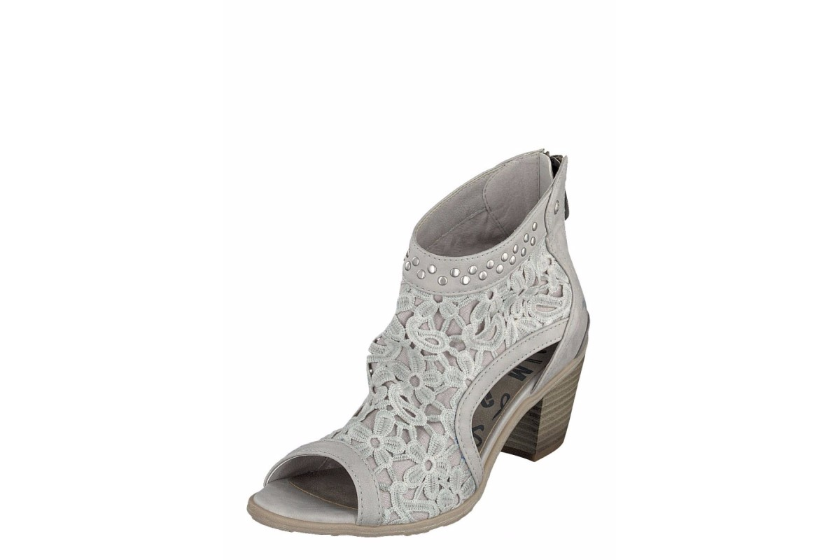 Mustang 1221-802 Grey Women's Peep Toe Lace Ankle Boots
