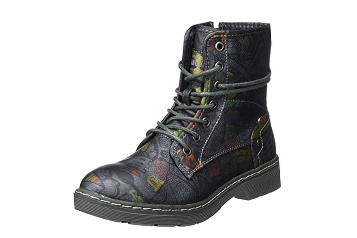Mustang 1235-610 Navy Pattern Lace Up Combat Ankle Boots