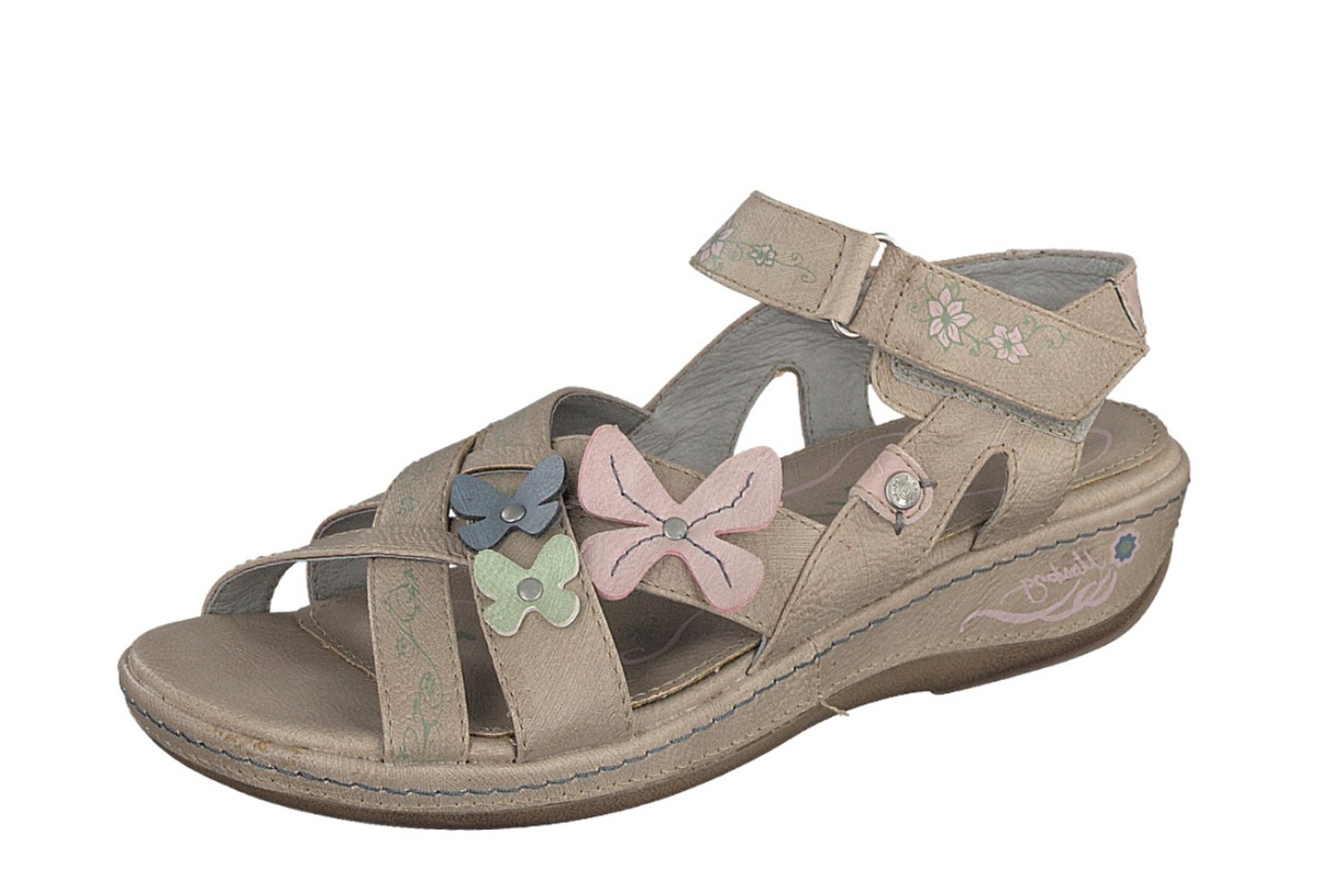 Mustang 1240-801 Taupe Low Wedge Heel Butterfly Floral Comfort Sandals