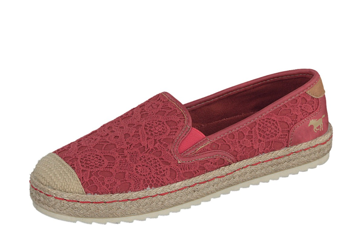 Mustang 1245-207 Women's Red Floral Lace Flat Espadrille Shoes