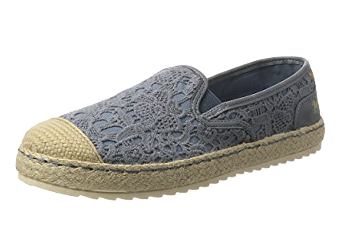 Mustang 1245-207 Women's Sky Blue Floral Lace Flat Espadrille Shoes