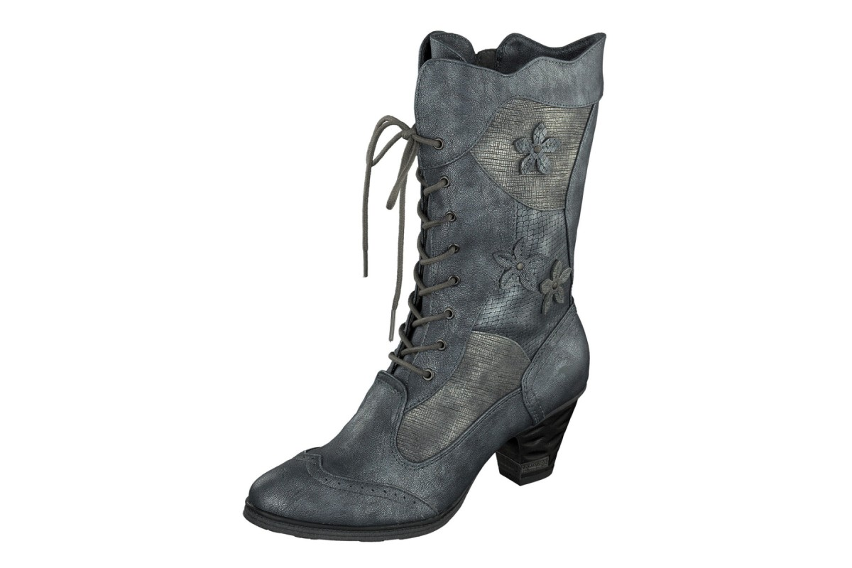 Mustang 1255-504 Blue Grey Patchwork Flower Lace Up Calf Boots