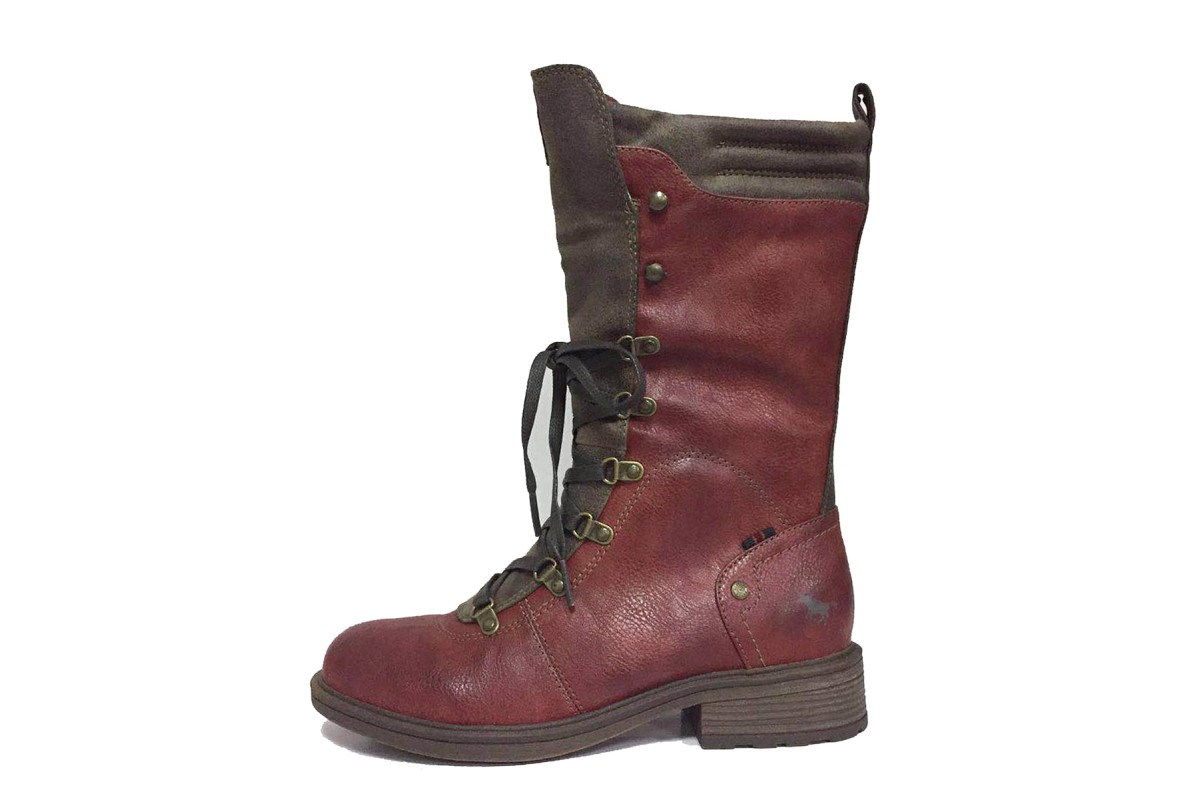 Mustang 1264-612 Red Brown Faux Leather Low Heel Lace Up Mid Calf Boots