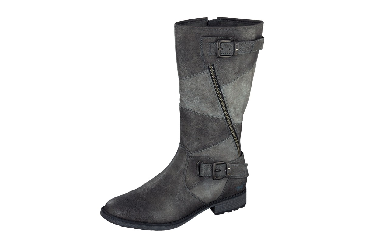 Mustang 1265-507 Dark Grey Patchwork Flat Mid Calf Boots