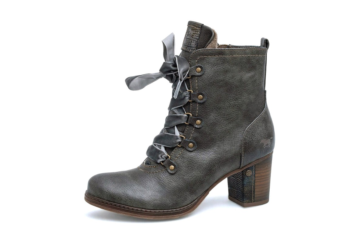 Mustang 1286-503 Dark Grey Faux Leather Lace Up High Heel Ankle Boots