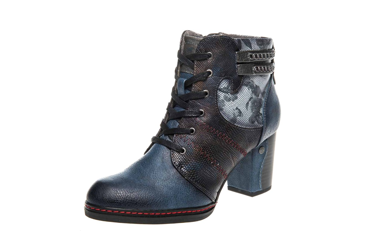 Mustang 1287-504 Dark Blue Floral Lace Up High Heel Ankle Boots