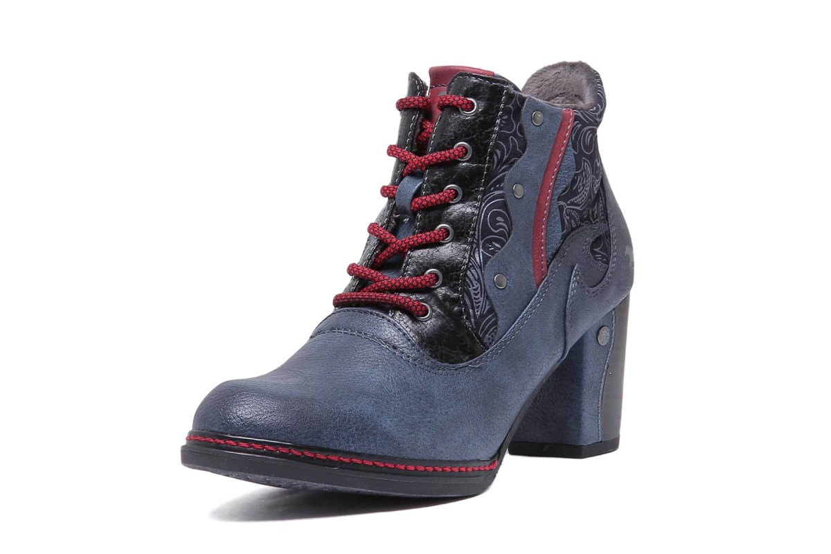 Mustang 1287-512 Dark Blue Red Floral Lace Up High Heel Ankle Boots
