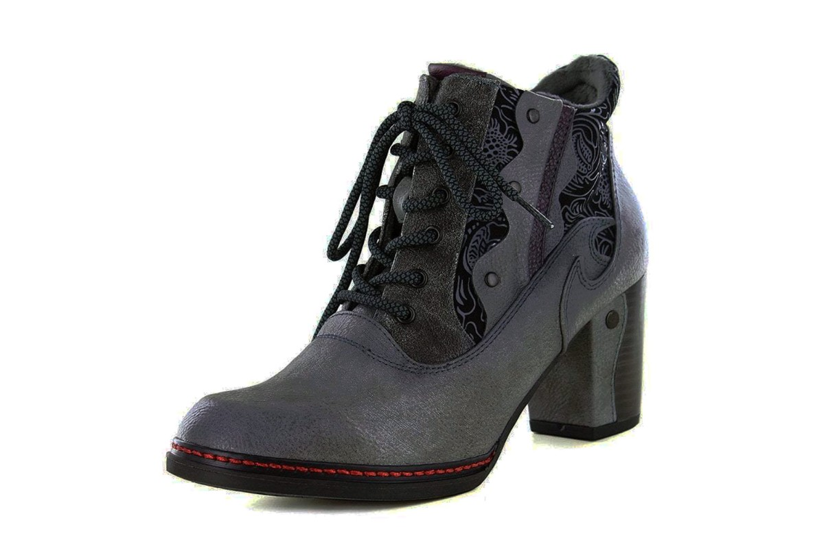 Mustang 1287-512 Grey Black Floral Lace Up High Heel Ankle Boots