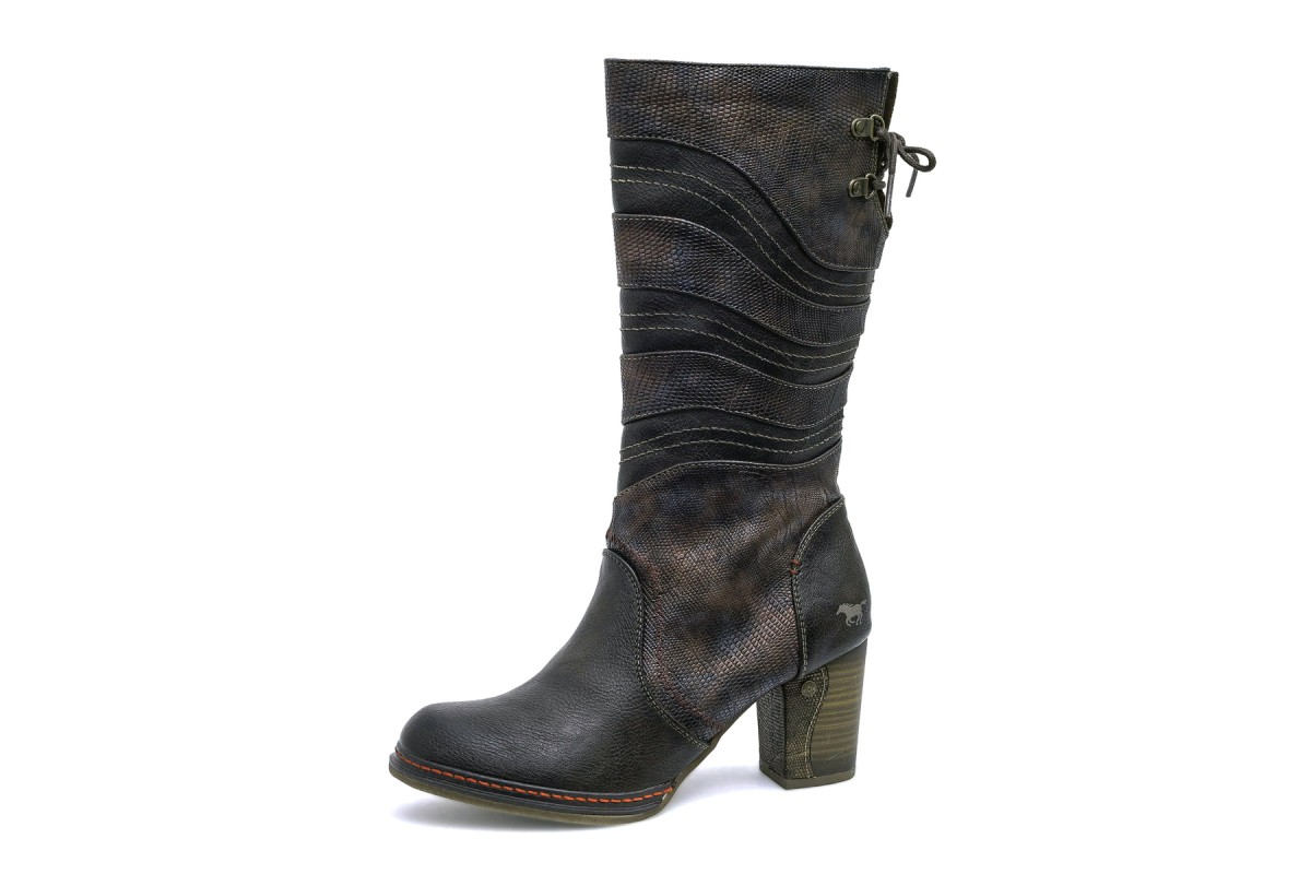 Mustang 1287-514 Mokka Dark Brown Faux Leather High Heel Calf Boots