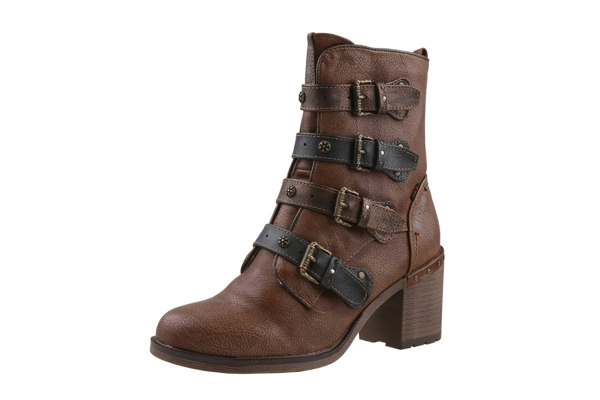 Mustang 1296-601 Chestnut Brown Feature Straps High Heel Ankle Boots