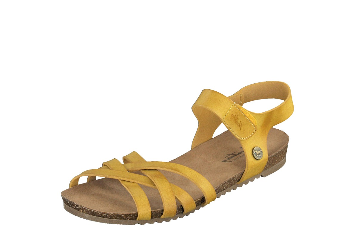 Mustang 1307-801 Mustard Yellow Faux Leather Open Toe Flat Sandals