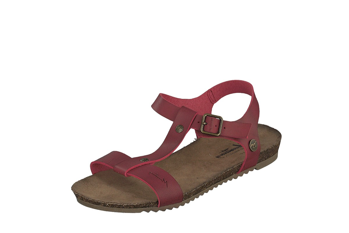 Mustang 1307-803 Dark Red Faux Leather T Strap Open Toe Flat Sandals