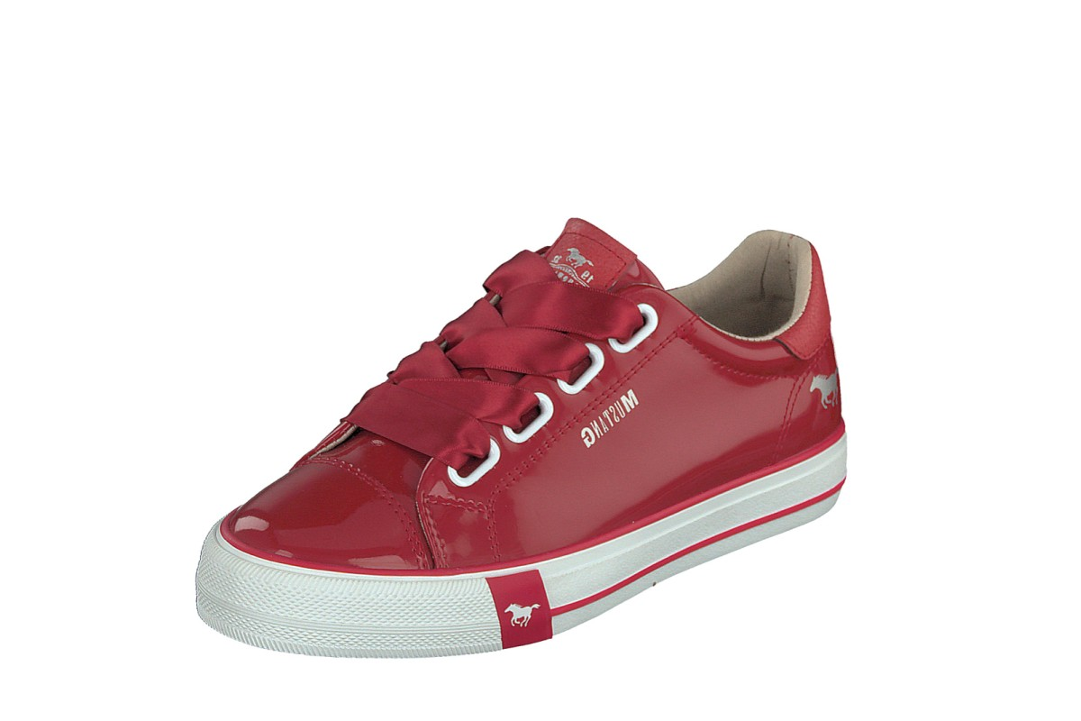 Mustang 1313-301 Red White Patent Lace Up Low Top Trainers