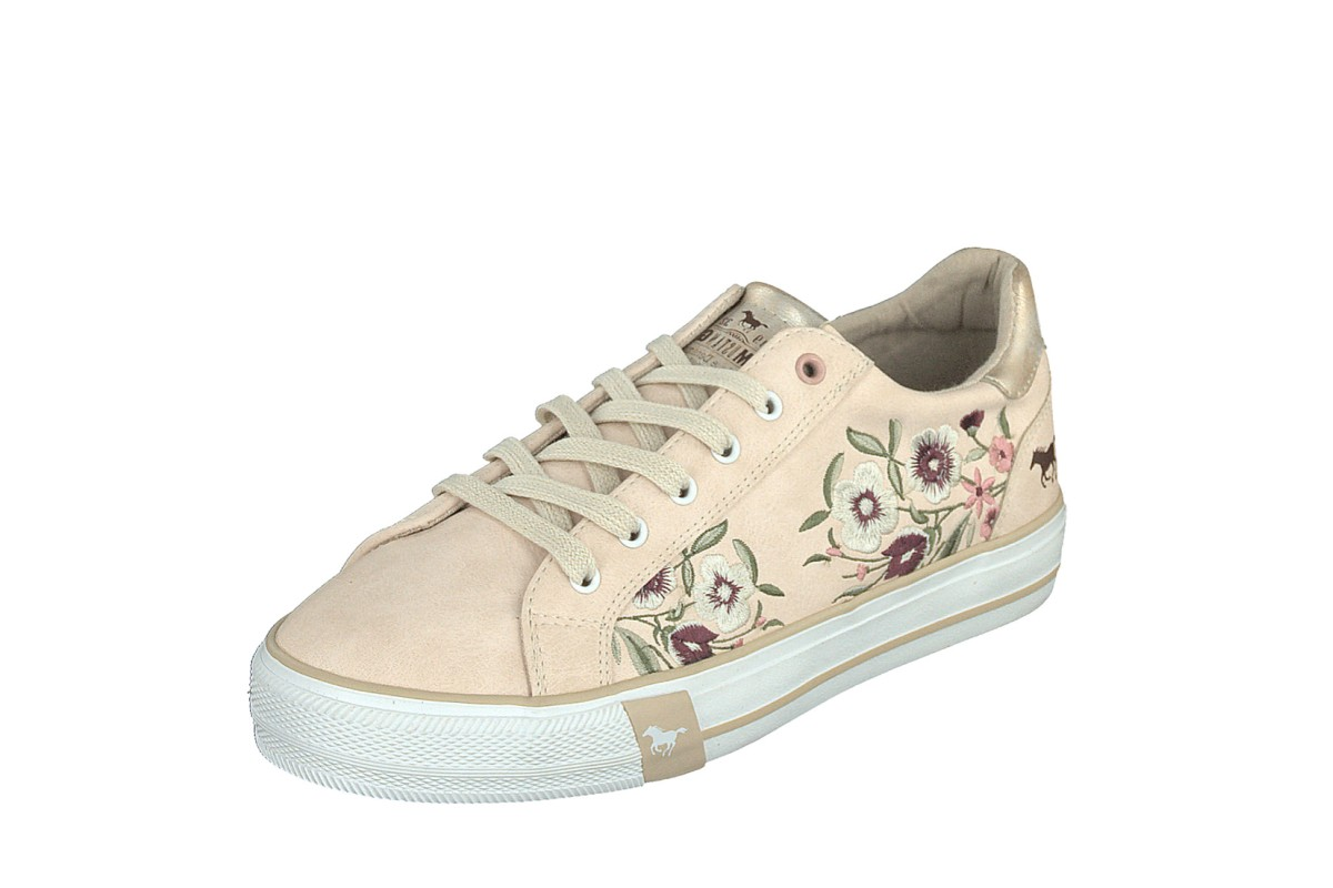 Mustang 1313-303 Rosa Pink Beige Floral Embroidered Low Top Trainers