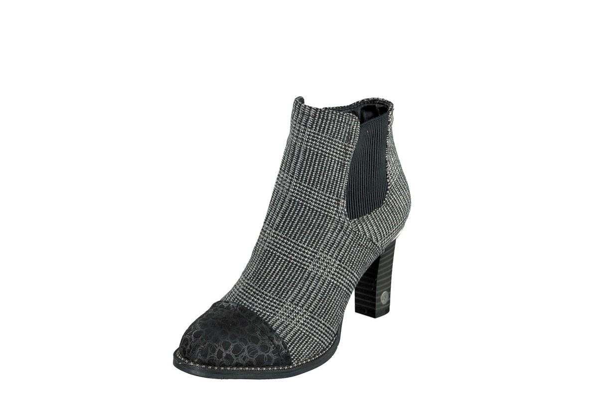 Mustang 1335-503 Black Grey Tweed Check Fabric High Heel Ankle Boots