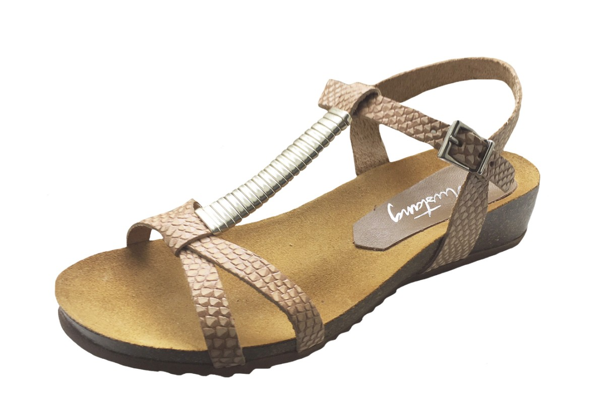 Mustang 2865-801 Beige Snake Genuine Leather Wedge Heel T Bar Sandals