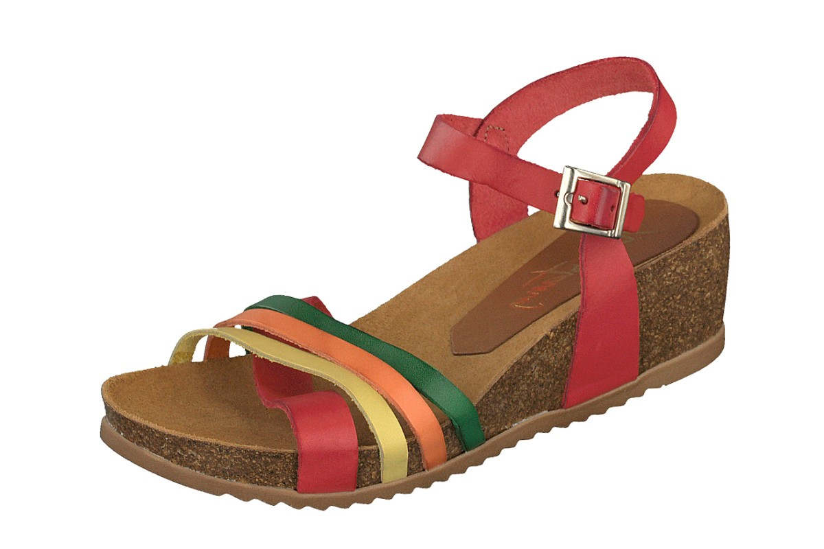 Mustang 2866-802 Red Green Orange Yellow Genuine Leather Wedge Heel Strappy Sandals