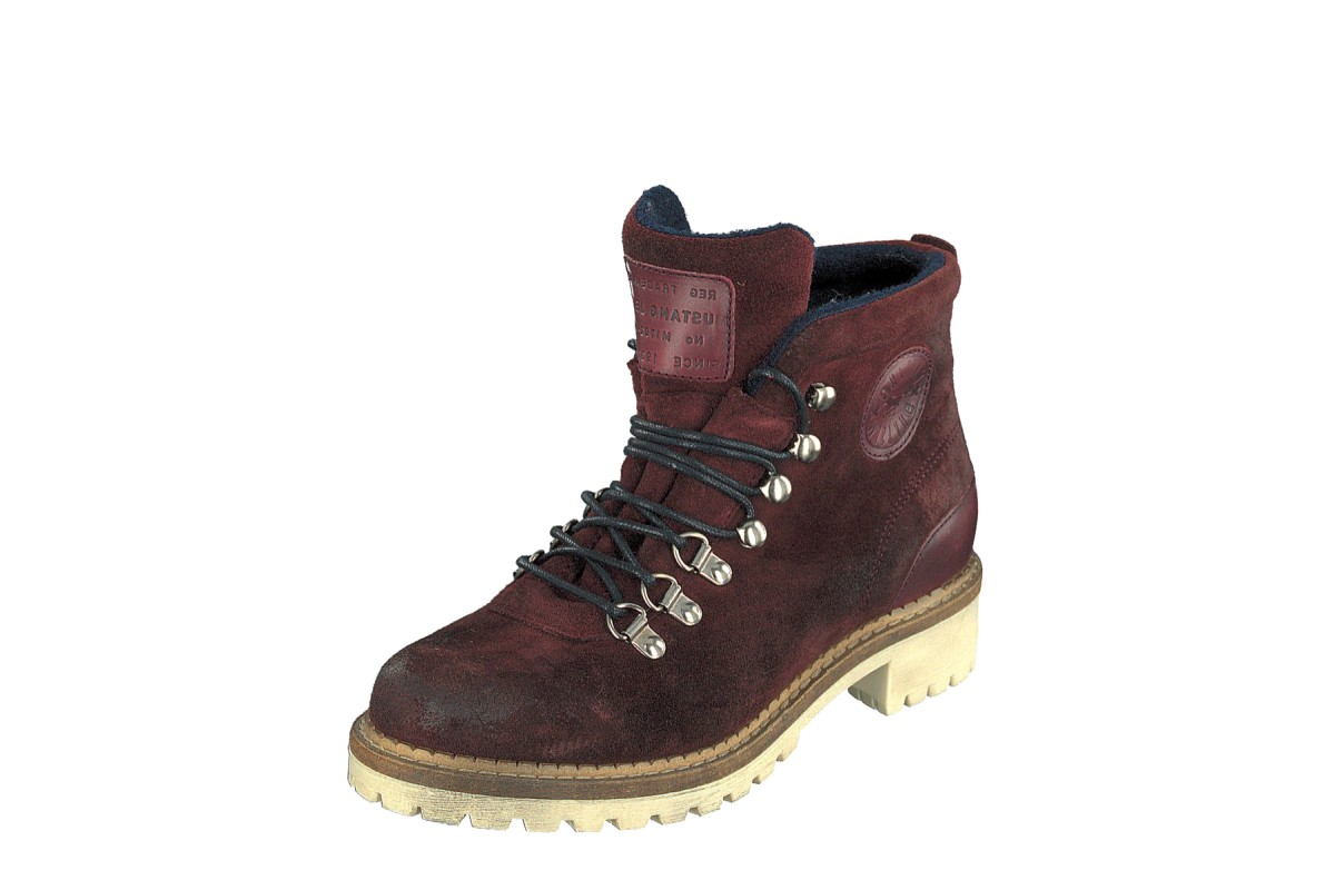 Mustang 2871-501 Bordeaux Burgundy Suede Lace Up Low Heel Ankle Boots