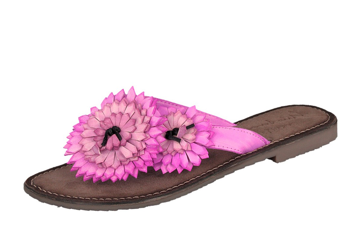 Mustang 3125-801 Pink Flower Flat Leather sandals Flip Flops