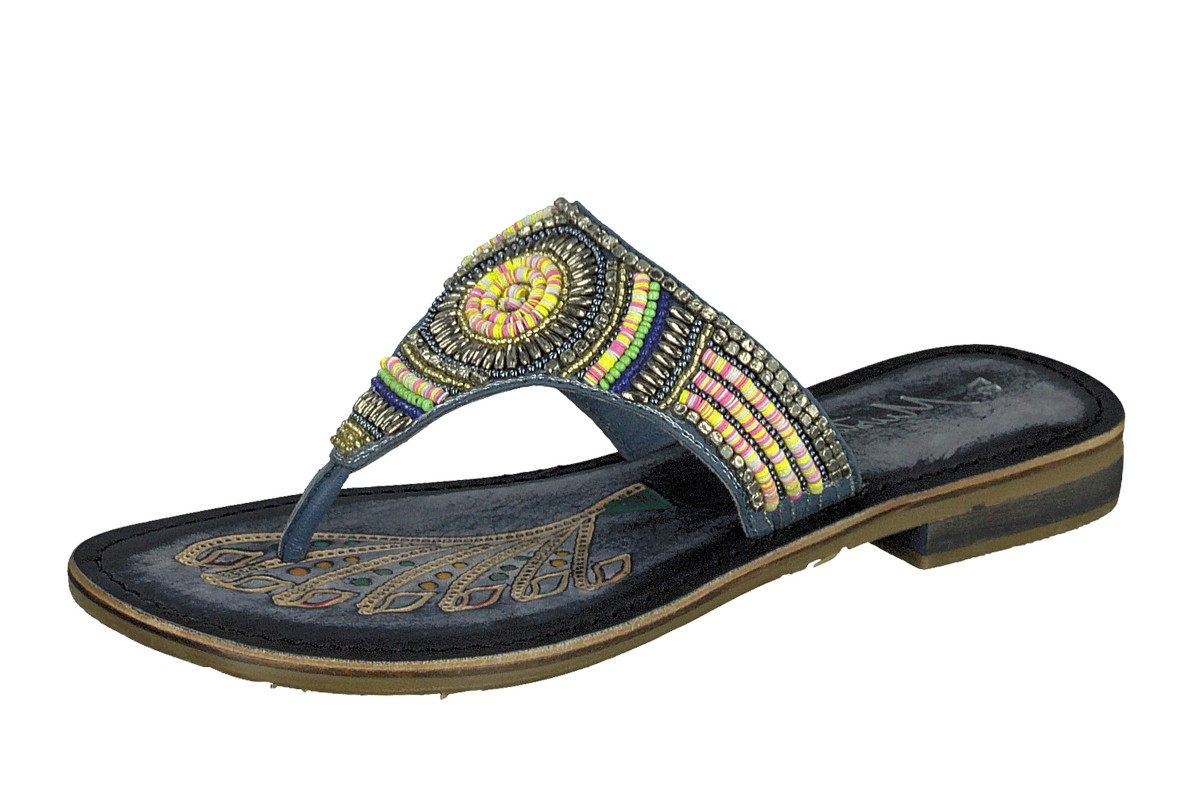 Mustang 3130-801 Blue Navy Leather Beaded Toe Post Flat Flip Flops Sandals