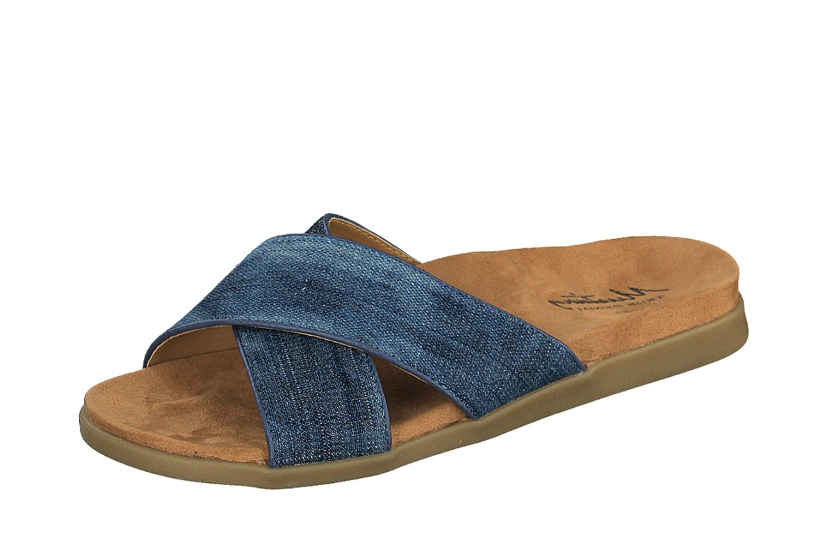 Mustang 3133-701 Blue Denim Cross Strap Flat Slide Sandals