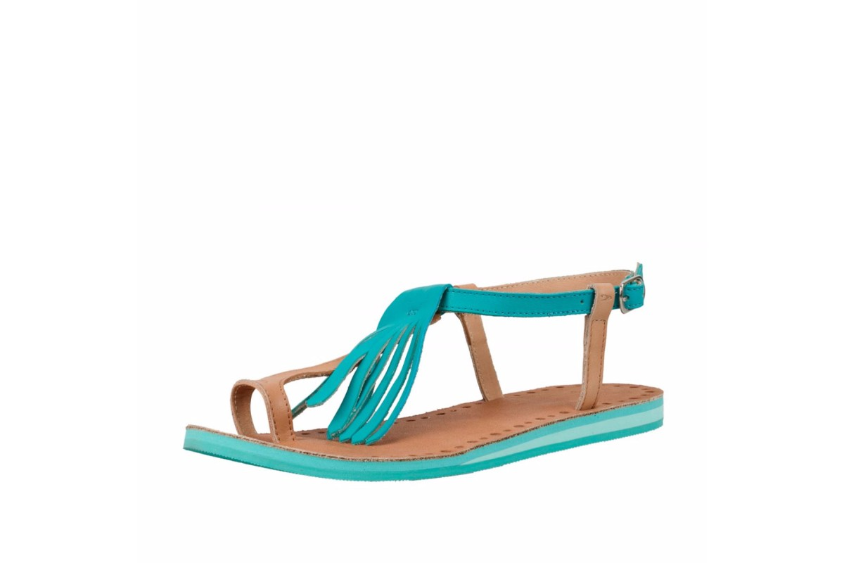 O'Neill Laguna Leather Women's Fringe Flat Sandals Ceramic Blue