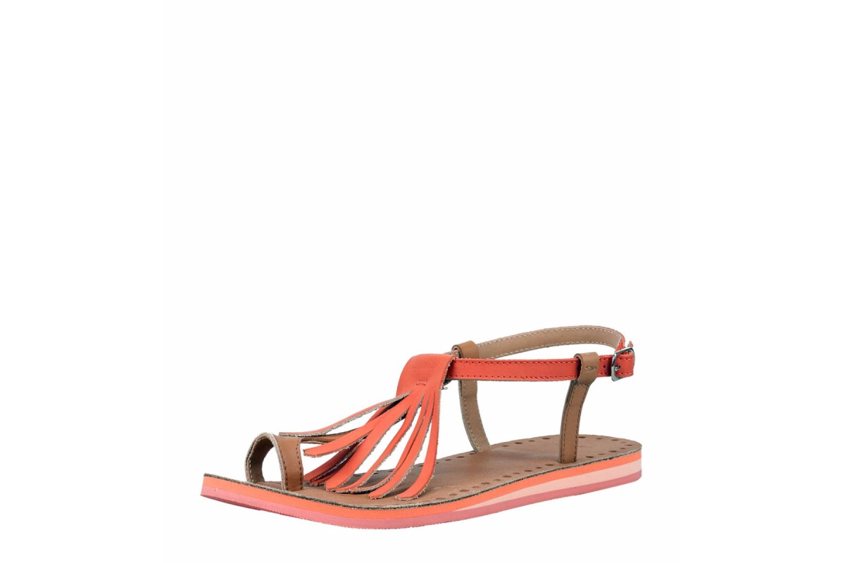 O'Neill Laguna Leather Women's Fringe Flat Sandals Fusion Coral