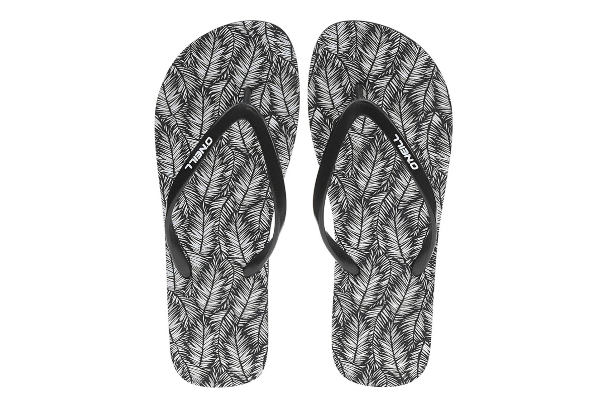 O'Neill Printed Flip Flop Black White Leaf Women's Sandals