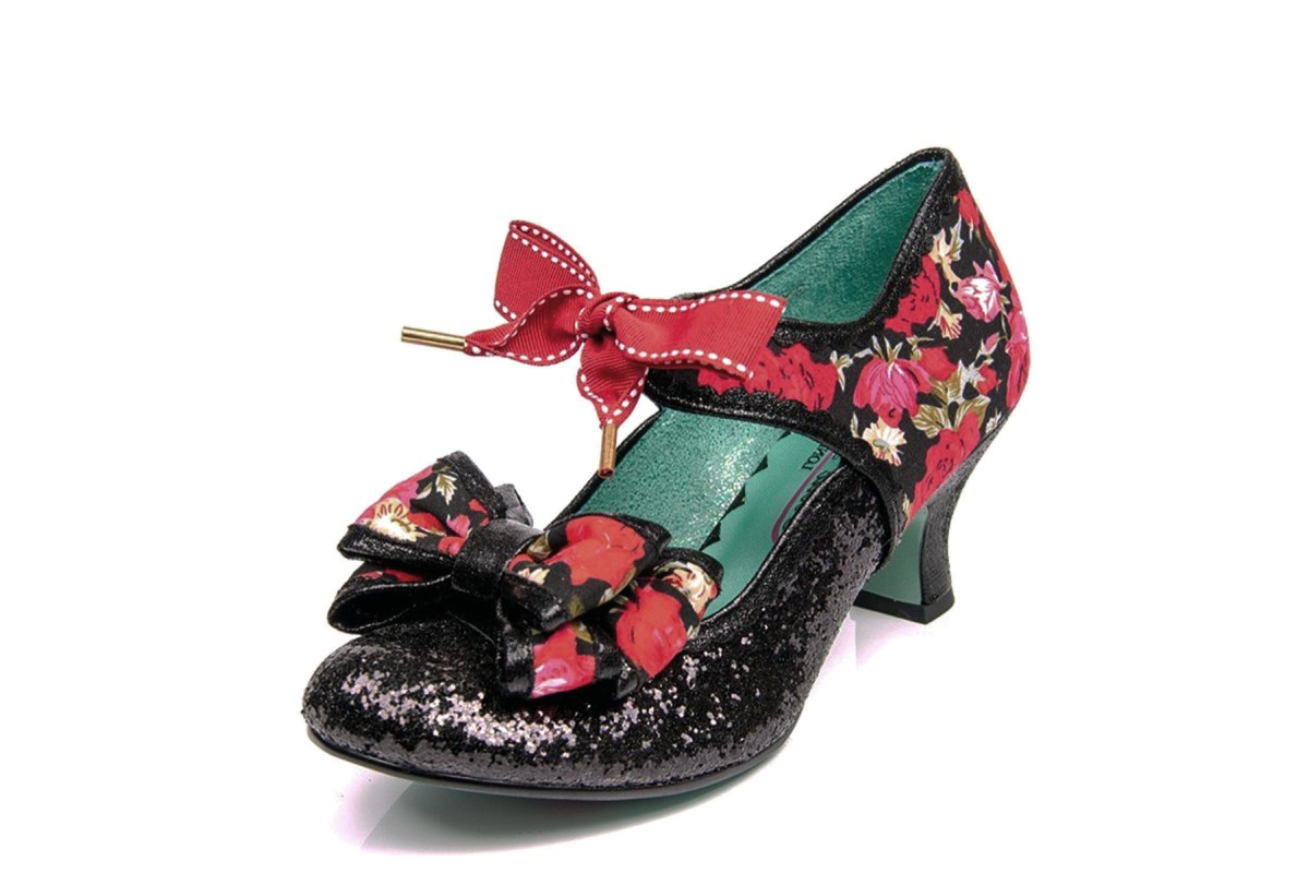 Poetic Licence Apple Spice Black Red Floral Glitter Mid Heel Shoes