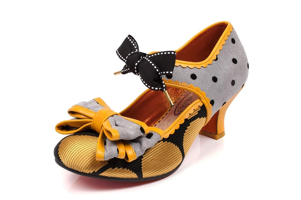 Poetic Licence Apple Spice Grey Mustard Yellow Polka Dot Mid Heel Shoes
