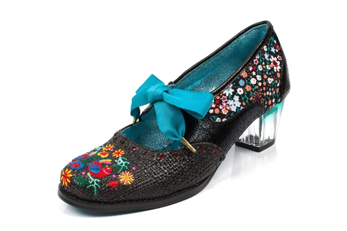 Poetic Licence Birdie Bop Black Floral Embroidered Lace Up Mid Heel Shoes