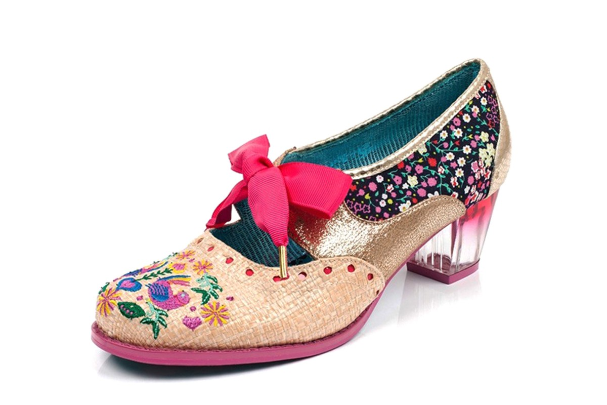 c2465e24c1d Poetic Licence Birdie Bop Gold Pink Floral Embroidered Lace Up Mid Heel  Shoes