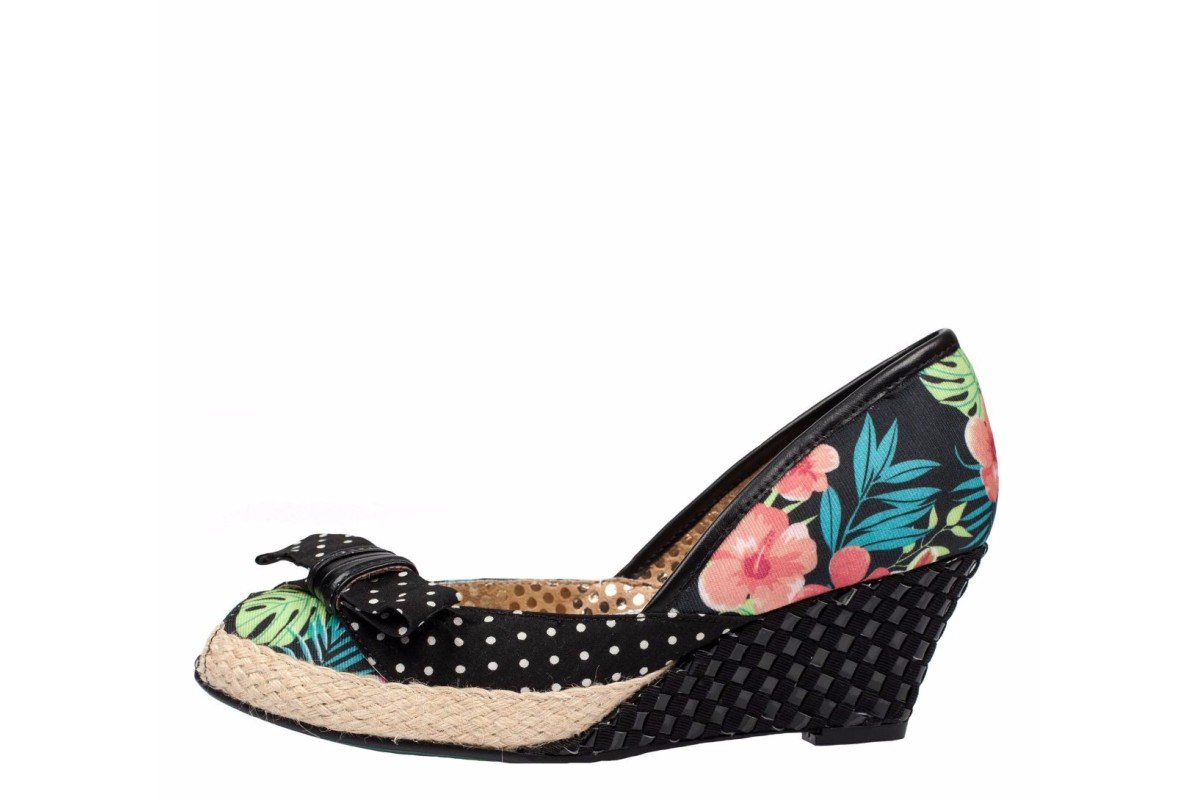 Poetic Licence Charmed Life Black Floral Peep Toe Wedge Shoes