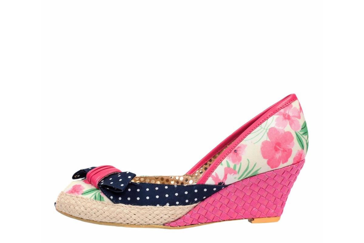 poetic licence charmed pink blue floral peep toe