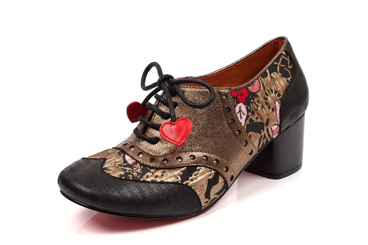 49f9215b70c Poetic Licence Clara Bow Black Metallic Gold Floral Mid Heel Lace Up Brogue  Shoes