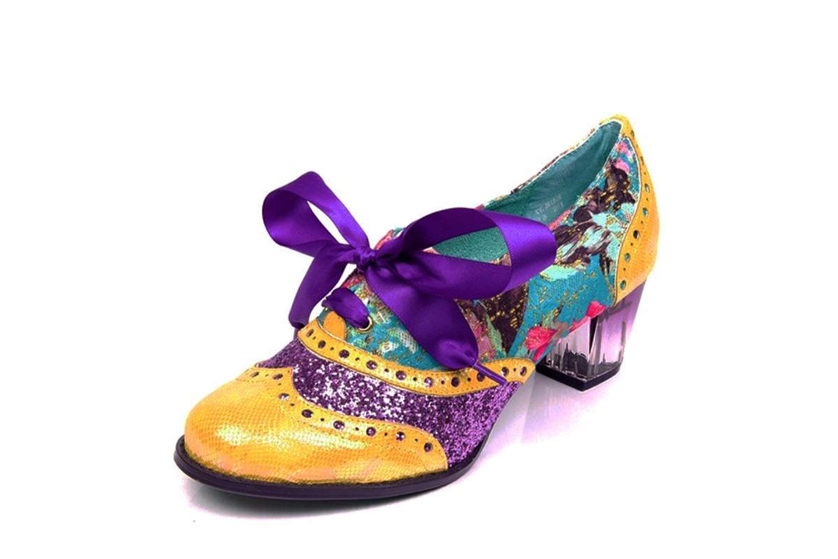 Poetic Licence Corporate Beauty Yellow Purple Glitter Floral Mid Heel Brogue Shoes