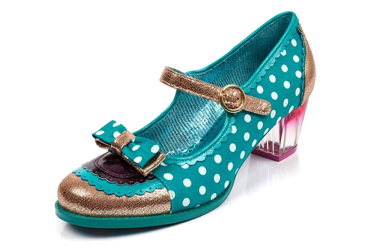 Poetic Licence Final Whistle Teal Polka Dot Gold Mid Heel Mary Jane Shoes