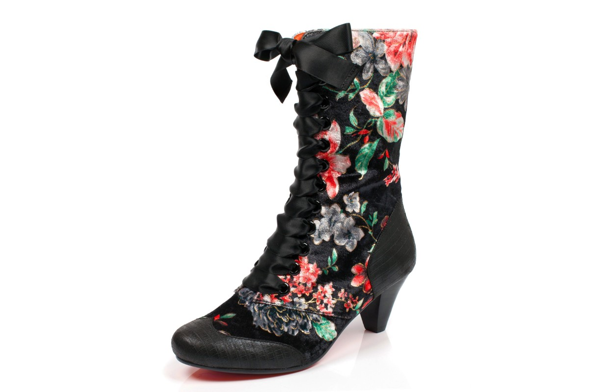 57b90c4a967 Poetic Licence Lady Victoria Black Floral Velvet Mid Heel Lace Up Boots