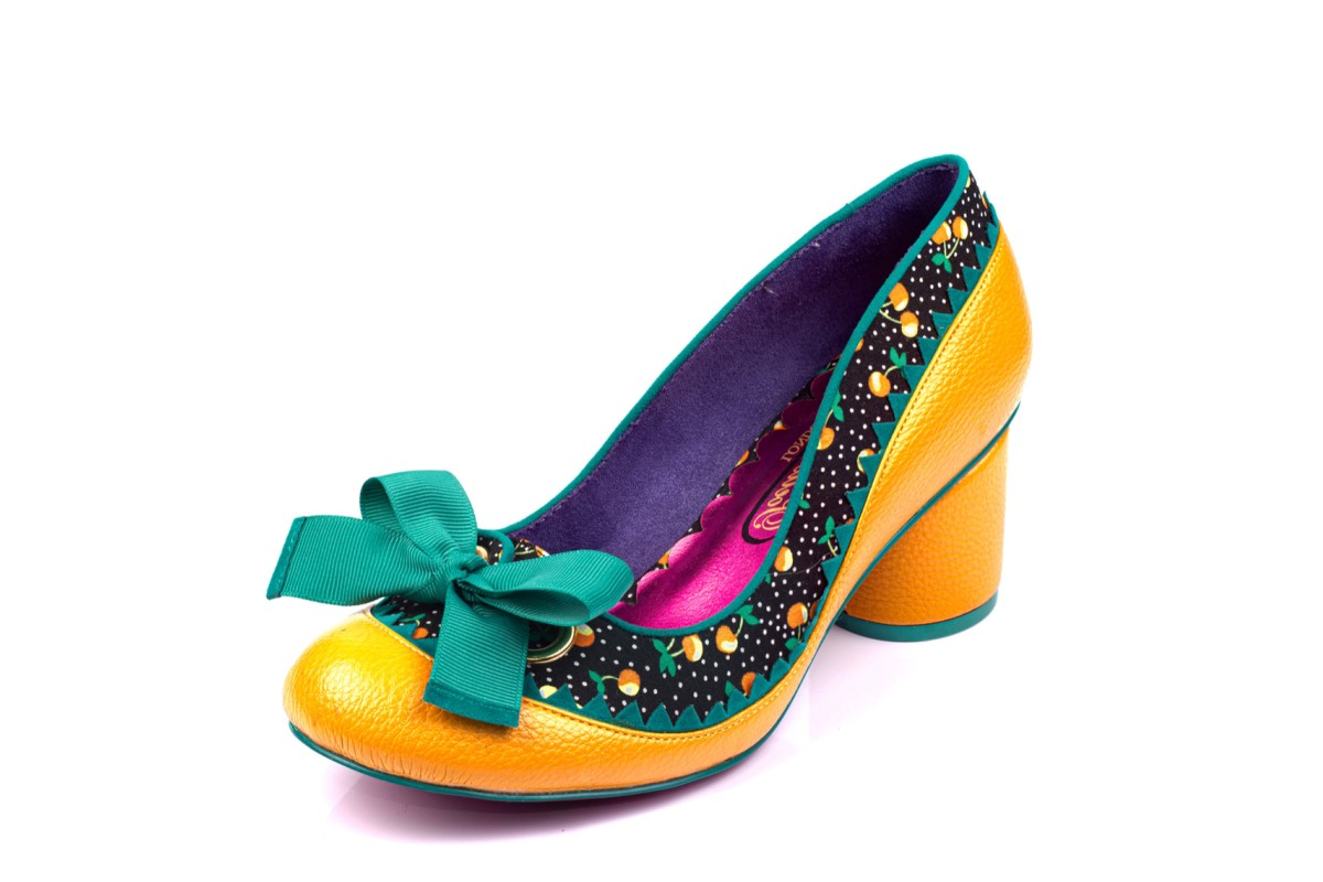 Poetic Licence Mitzi Yellow Mustard Black Teal Cherry Print Mid Heel Shoes