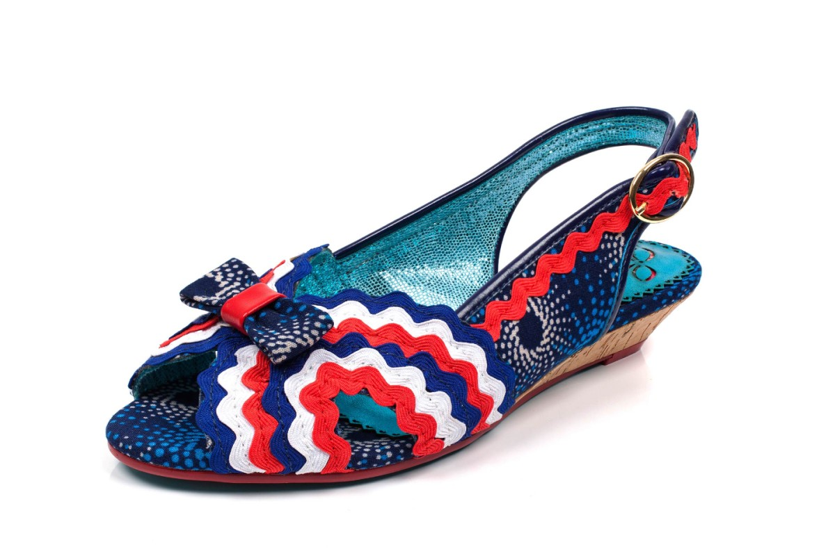 Poetic Licence Ruthie Ruffle Navy Red White Low Heel Wedge Sandals